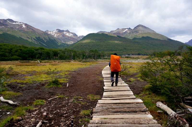 man hiking to Laguna Esmeralda, Tierra del Fuego