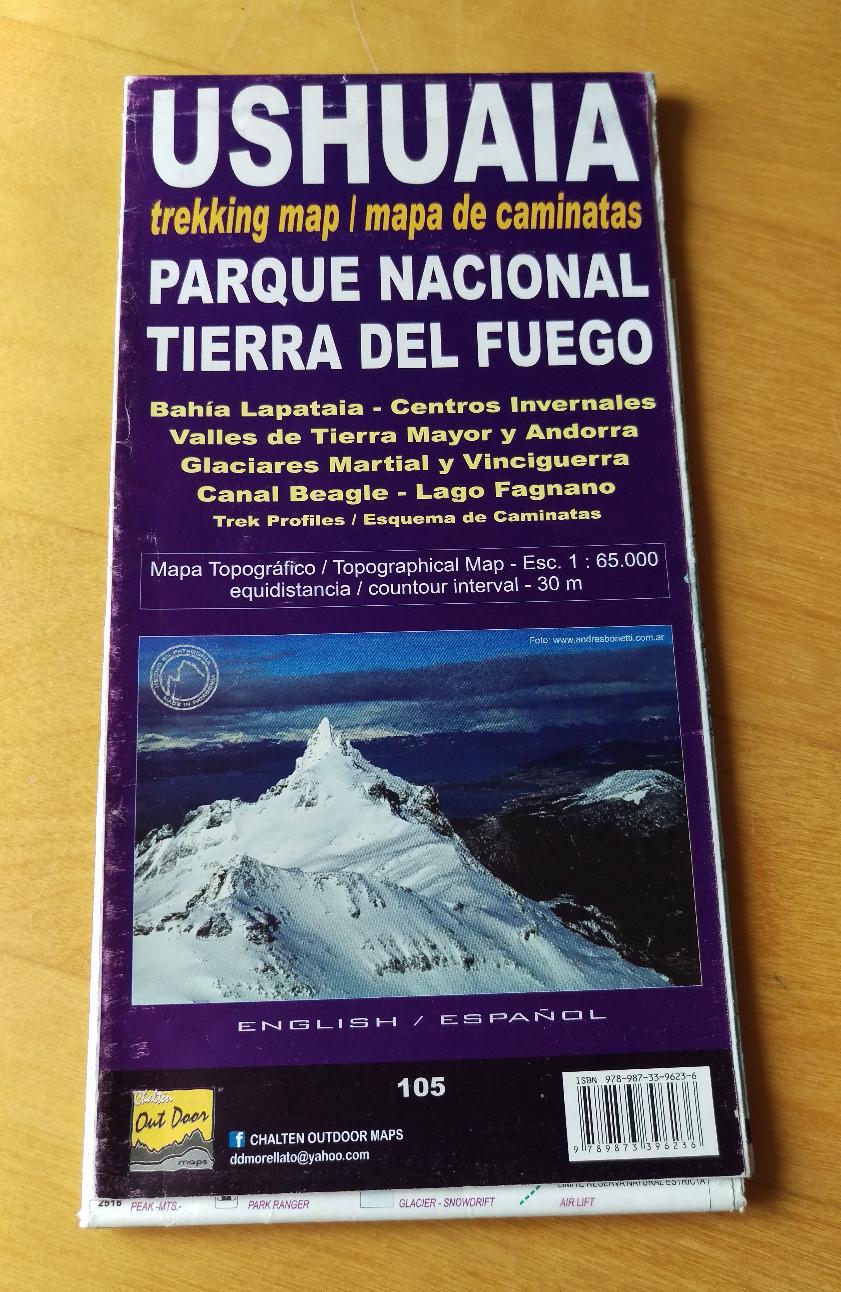 Trekking Map, Ushuaia, Tierra del Fuego