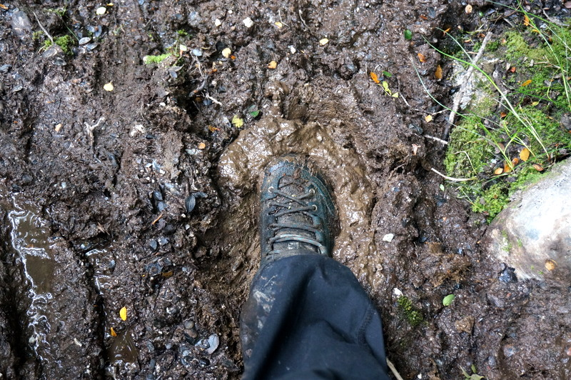 shoe in mud, Tierra del Fuego, hiking