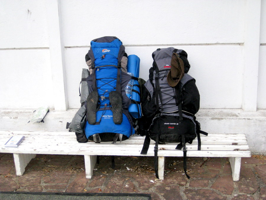 two heavy backpacks for long distance hiking