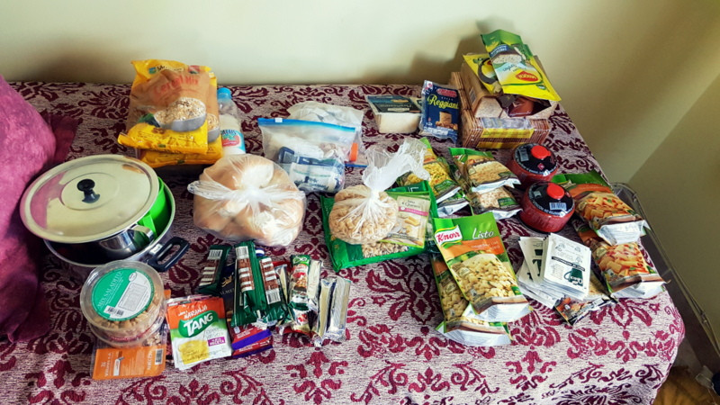 Food for our 7-day trip through Tierra del Fuego