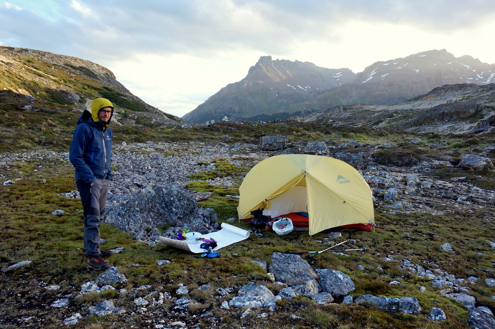 Camping at the top of Valle de Rio Chico, Tierra del Fuego