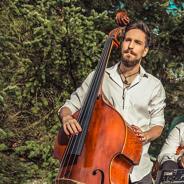 Colin Sankey with upright bass in the forest