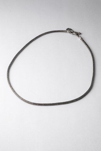 Oxidized silver necklace with toggle clasp