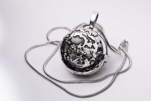 Moon landing locket silver with patina