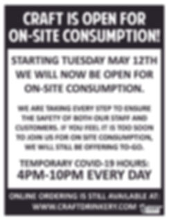 Craft Open For On-Site Consumption 8.5 x