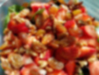 Strawberry pecan spring salad with peach