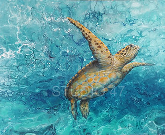 turtle art, poured paint, canadian art, west coast art