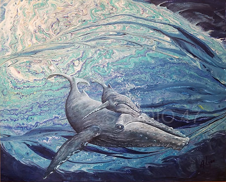 poured paint, ocean art, whale art, canadian art, west coast artist