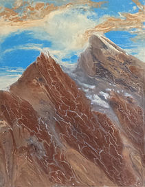 poured paint, canadian art, mountain painting, west coast art