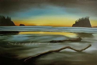 Canada art, oil painting ocean, west coast art