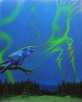 canadian art, northern lights painting, west coast artist