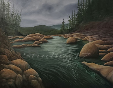 British Columbia art, oil pinting river, west coast art