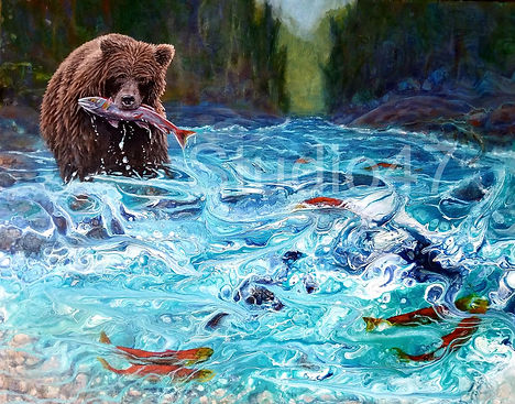 pored paint, bear art, canadian ar, west coast art, water art, bear fishing