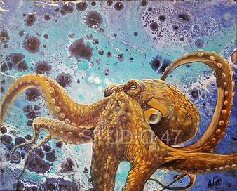 octopus art, ocean art, poured paint,, canadian art, west coat art