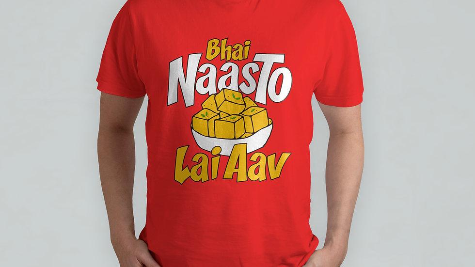 Bhai Naasto Lai Aav Red T-Shirt