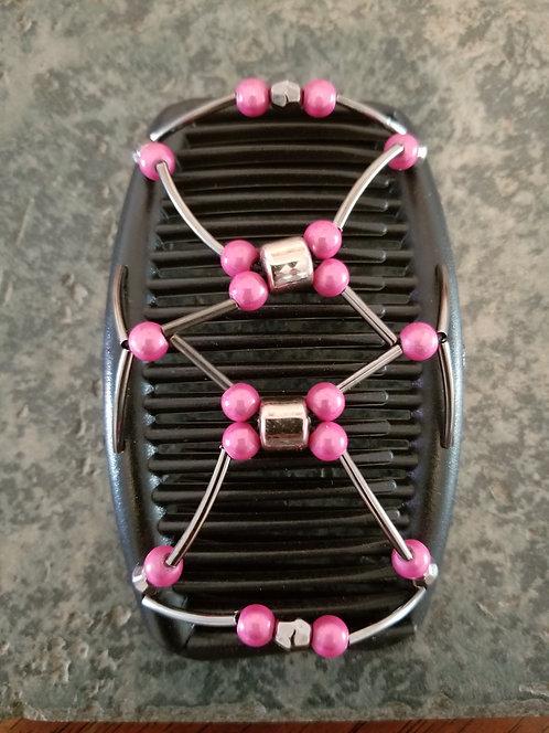 Regular Black Hair comb Pink Round Beads