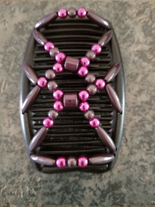 Regular Black Hair comb Pink Beads