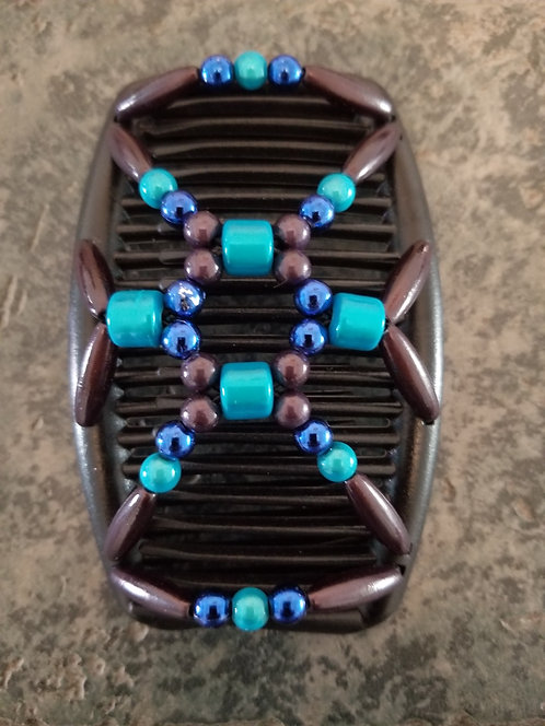 Regular Black Hair comb Turquise and Blue Beads