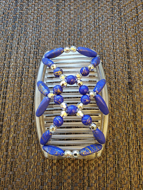 Regular White comb with Blue Beads