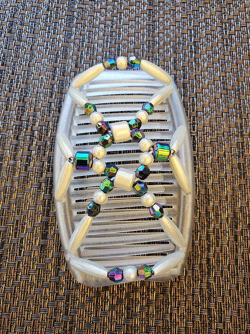 Regular white Comb with White and multi color beads