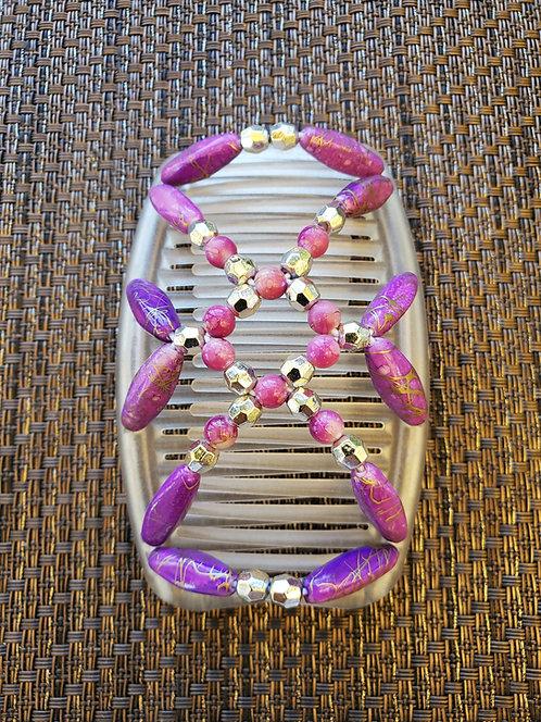 Regular White comb with purple beads