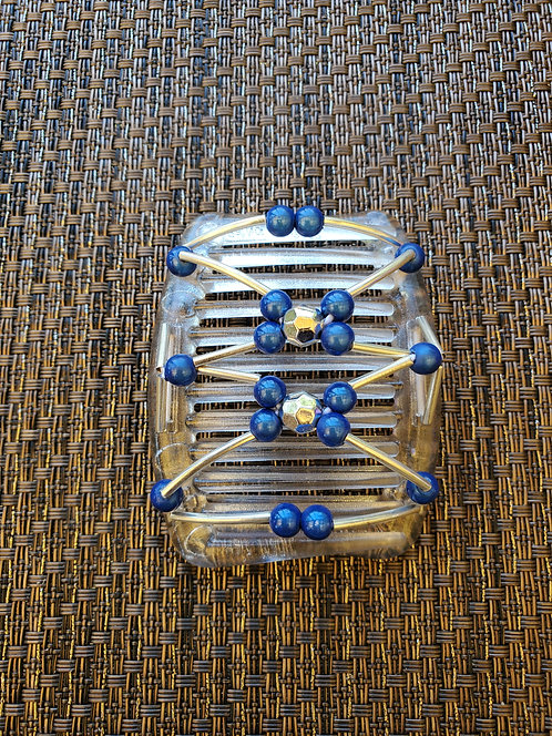 Small White Comb with Blue beads