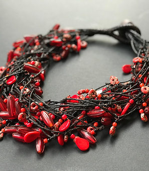 Necklace - leather and red pearls