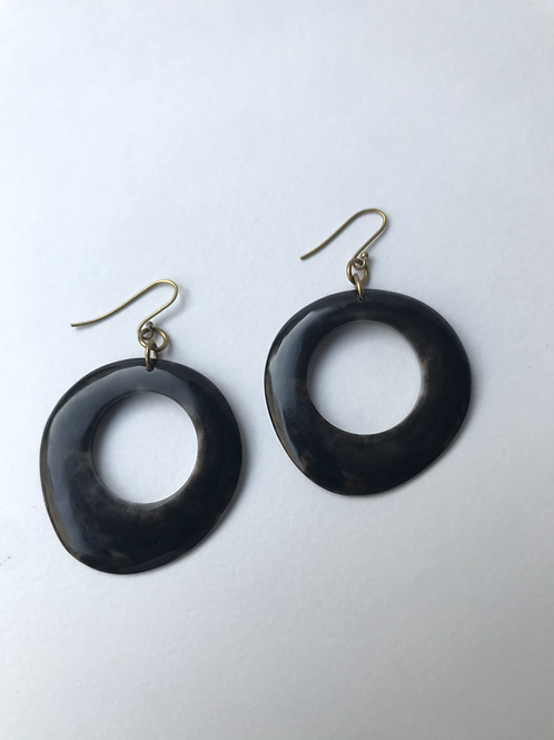Earrings - Brass and Horn