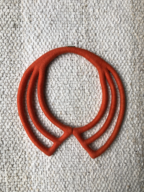 Hand-made Felted Necklace - Red