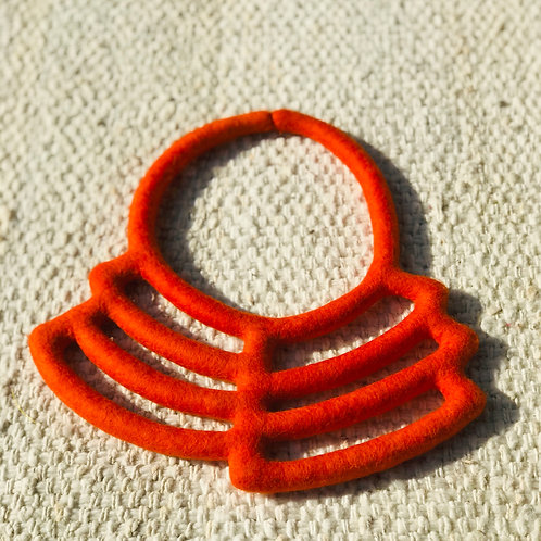 Necklace - Orange hand-made felted wool