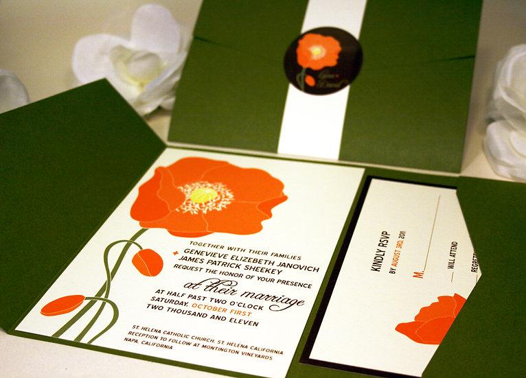 Poppy in the Sun Pocketfold Wedding Invitation