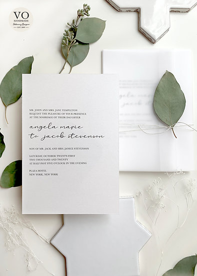 Minimalist Wedding Invitation, Wrapped with Vellum, Cording and an Elegant Leaf