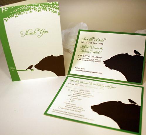 bear and bird pocketfold wedding invitations