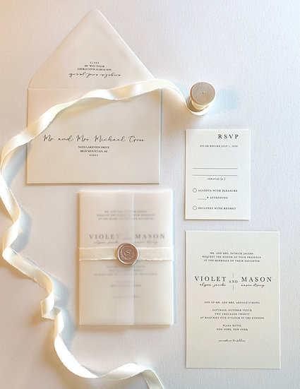 Champagne Pink and Ivory Wedding Invitation Suite
