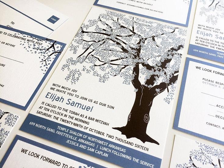 Blue Tree Bar Mitzvah Invitation, Oak Tree Bat Mitzvah Invitation Set