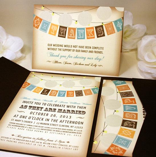 Flag and Lantern Wedding Invitation