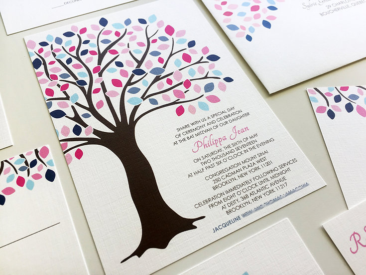 Tree of Life Bat Mitzvah Invitations, Pink and Blue Bar Mitzvah Invitation, Tree