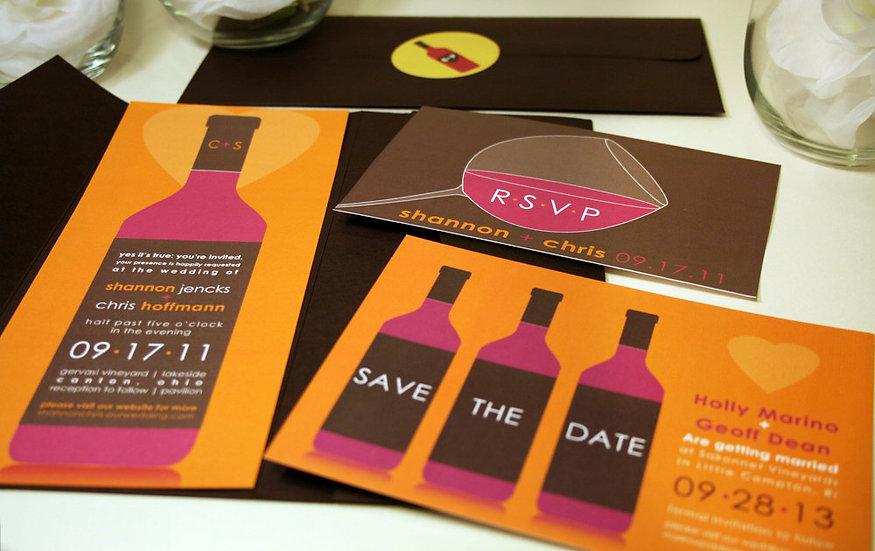 Modern Wine Pocketfol Wedding Invitation