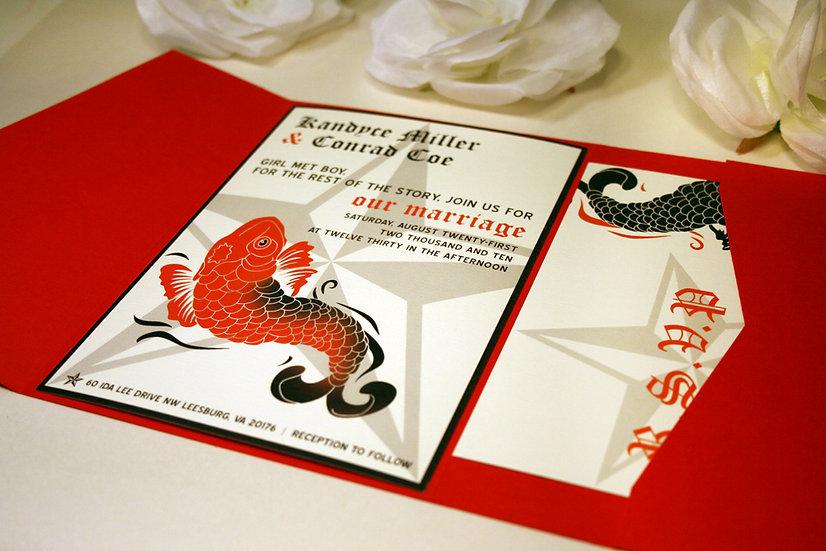 Koi Tattoo Inspired Pocketfold Wedding Invitations