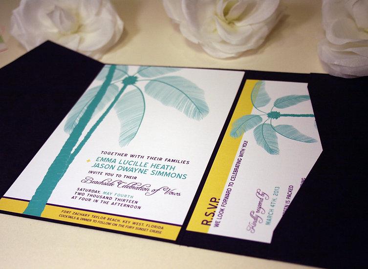Palm Tree Pocketfold Wedding Invitations