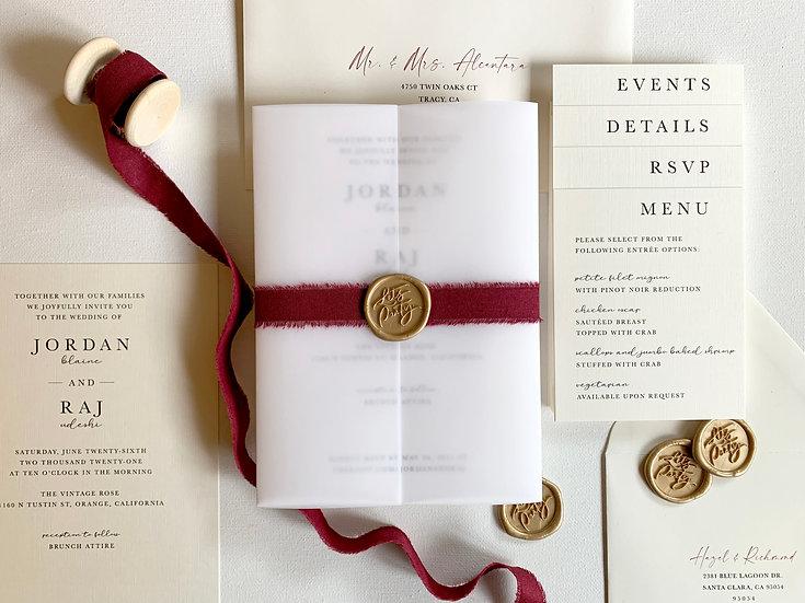 Burgundy and Ivory Wedding Invitation Suite