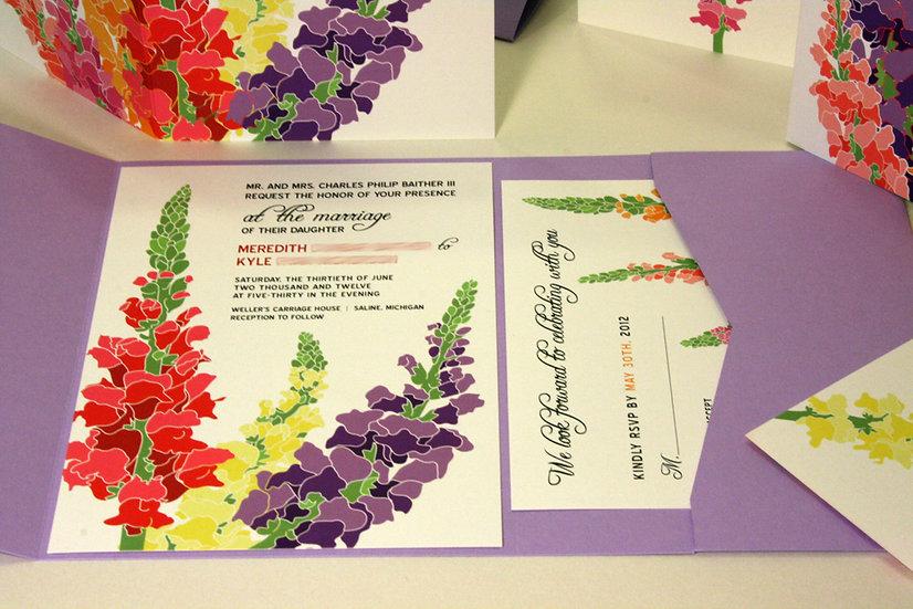 Pocketfold Snapdragon Wedding Invitation