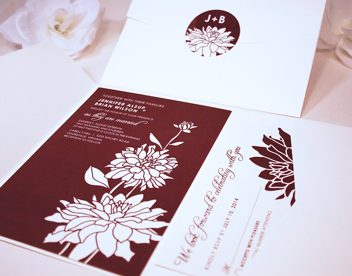 Three Dahlia Blooms Pocketfold Wedding Invitation