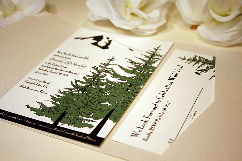 Trees and Mountain Pocketfold Invitation, Douglas