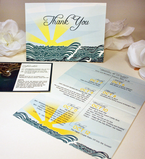 Waves Roll Onto The Beach As The Sun Sets In The Distance... This Wedding  Invitation Is Shown In Shades Of Blue, With A Yellow Sun, Blue Sky, ...