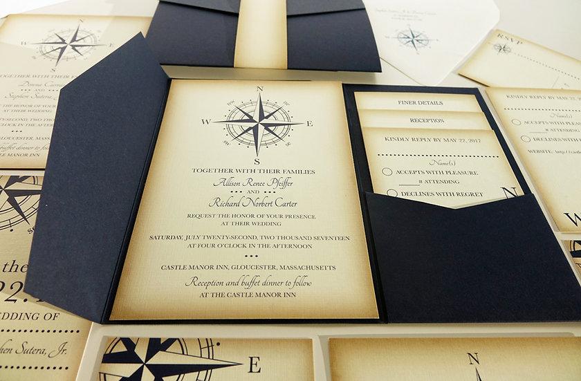Vintage Compass Wedding Invitation