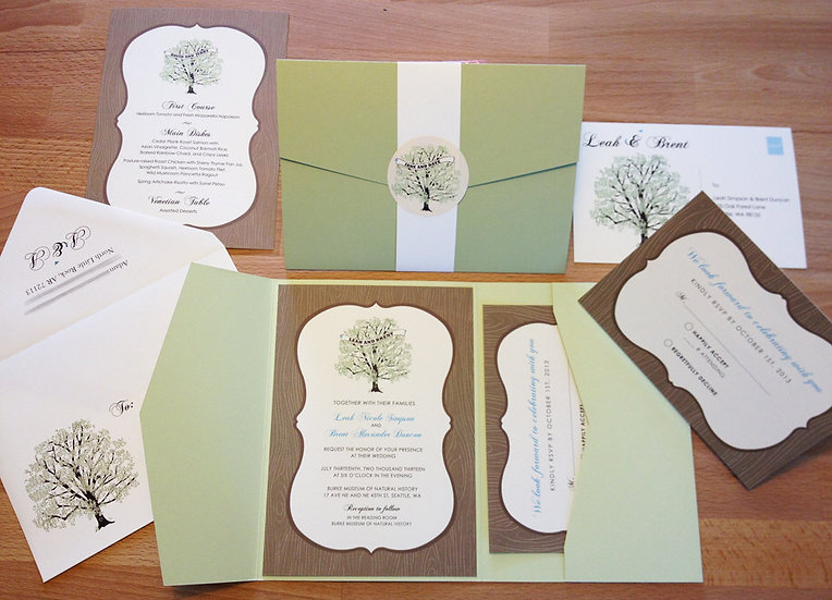 Wood Frame Wedding Invitations with Oak Tree