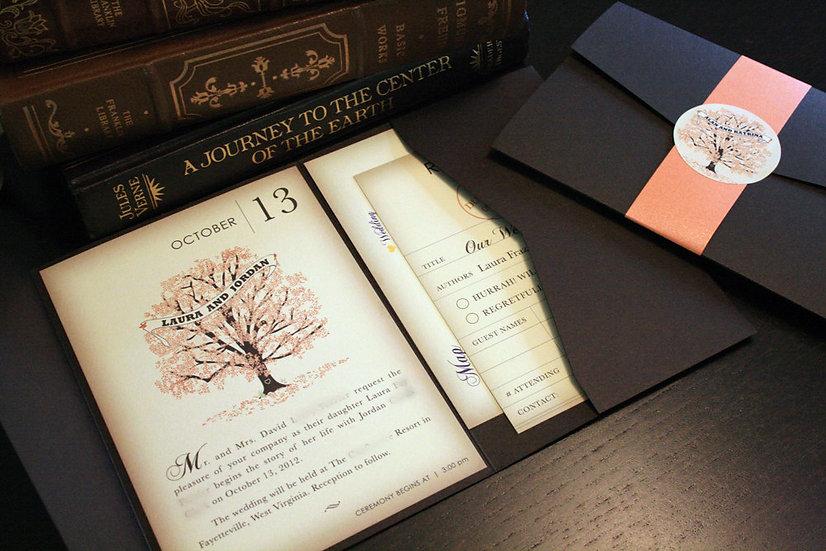 Fall Vintage Book Page Invitation