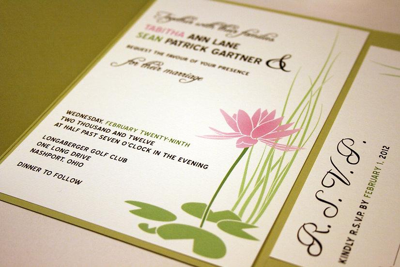 Pocketfold Water Lily Pocketfold Wedding Invitatio